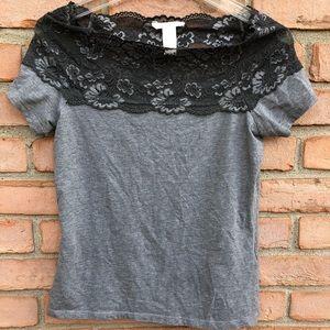 H&M Grey Lace T-shirt Medium